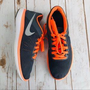 Nike Flex 2016 Run Gray Orange Running Sneakers